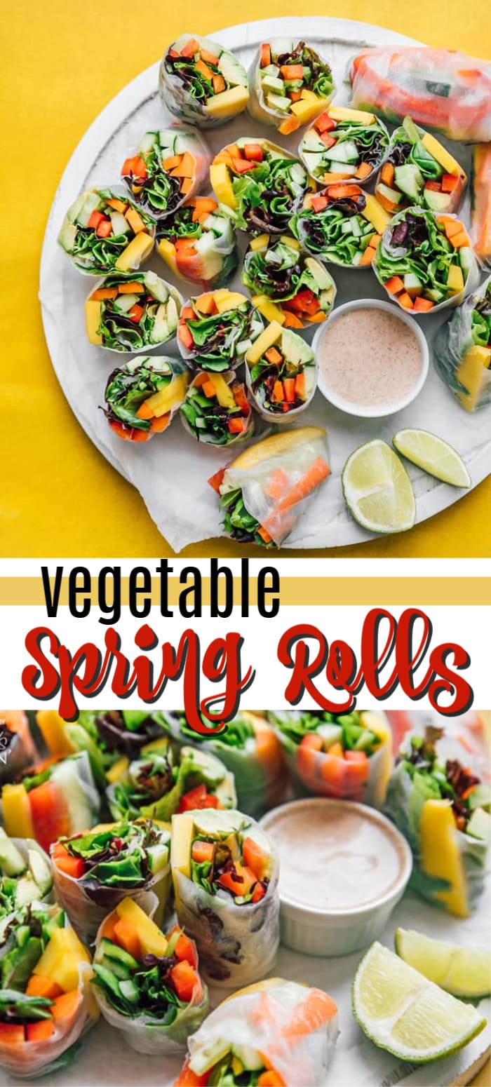vegetable spring rolls pin image