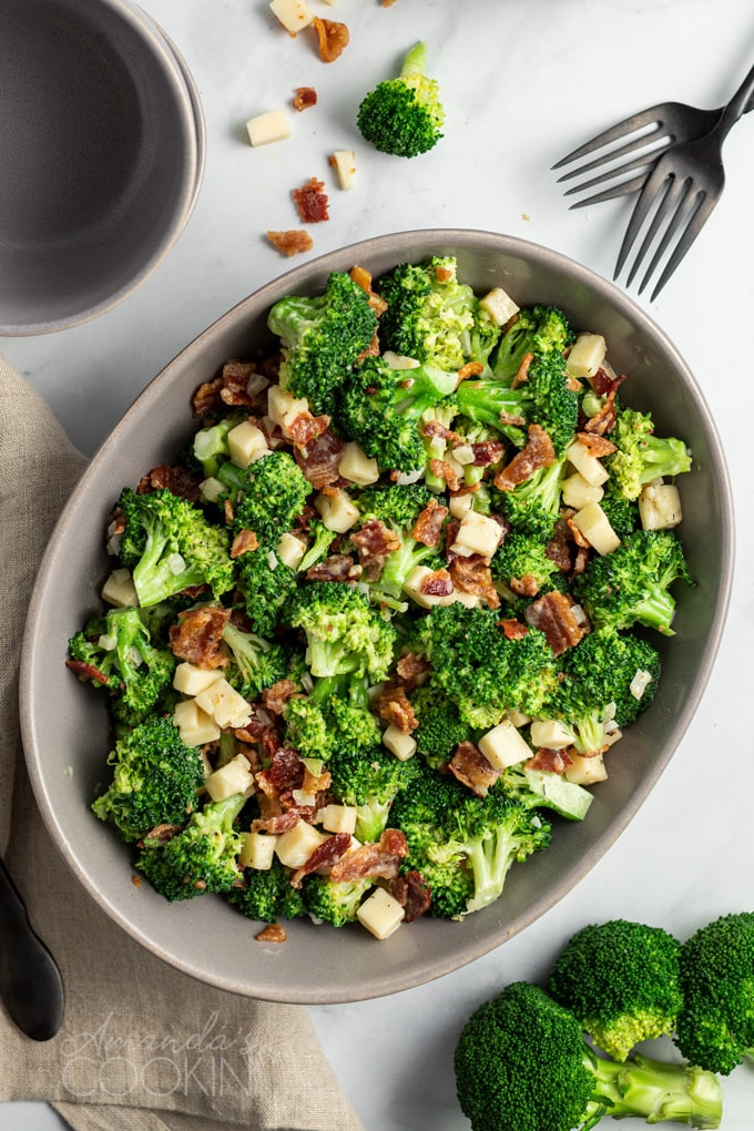 overhead view of broccoli salad in a large bowl