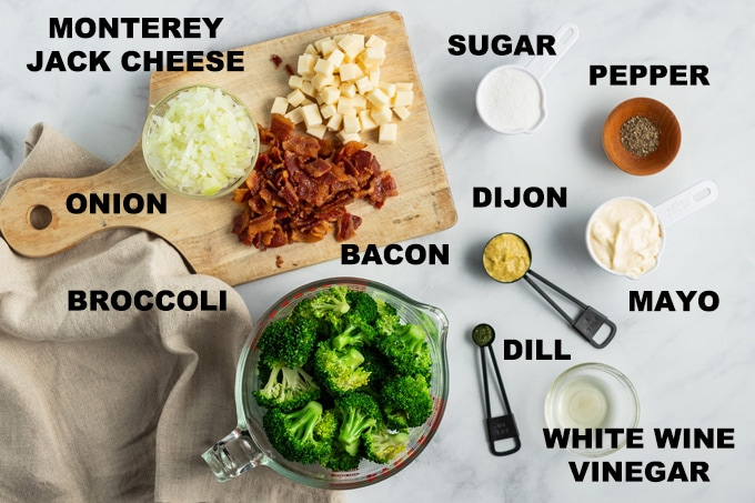 labeled ingredients for broccoli salad