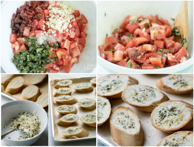 photos showing the steps of making bruschetta