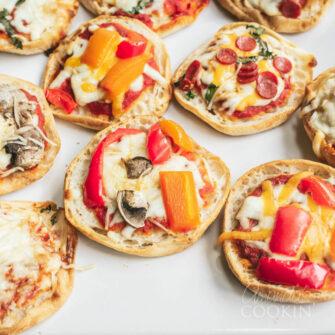 several english muffin pizzas