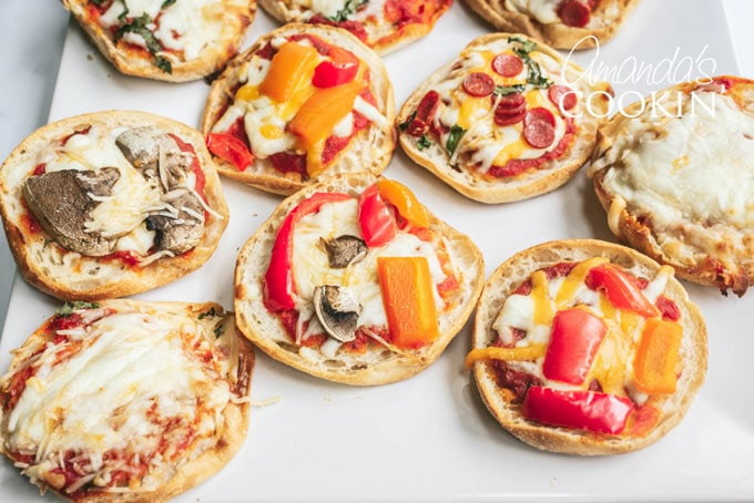 several kinds of english muffin pizza