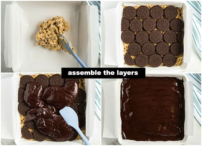 step photo collage of assembling slutty brownie layers