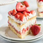 slice of strawberry shortcake on a plate