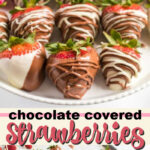 chocolate covered strawberries pin image