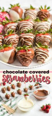 chocolate covered strawberries pin image