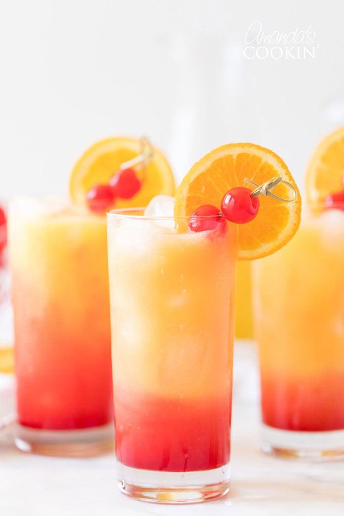 3 glasses of Tequila Sunrise drinks
