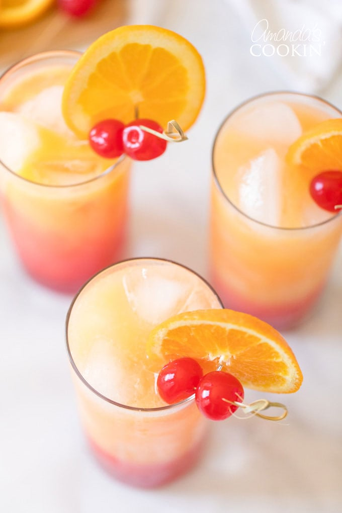 overhead shot of tequila sunrise drinks