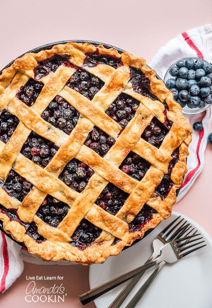 Blueberry pie overhead shot with lattice crust