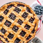 overhead view of blueberry pie