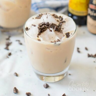 cocktail with chocolate shavings on top