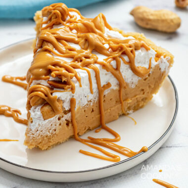 A piece of peanut butter pie on a plate
