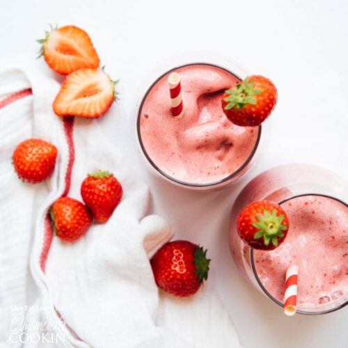overhead view of strawberry smoothie