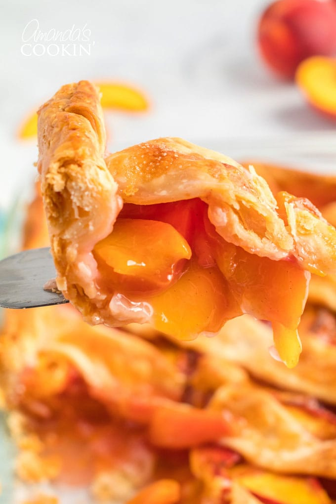 close up of slice of peach pie on pie server