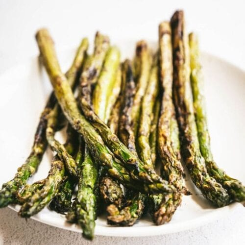 A close up of a grilled asparagus