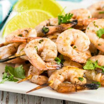 plate of grilled shrimp