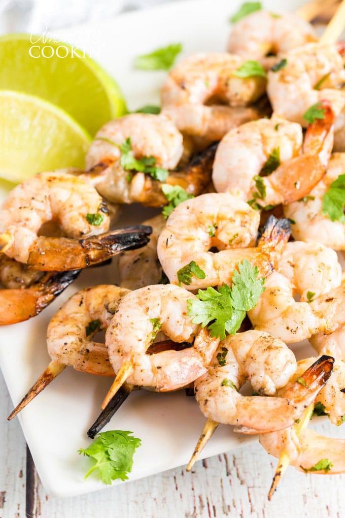 skewered shrimp on a plate