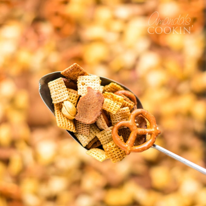 spoonful of chex mix