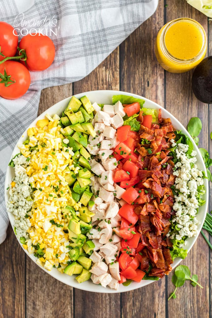 overhead photo of cobb salad