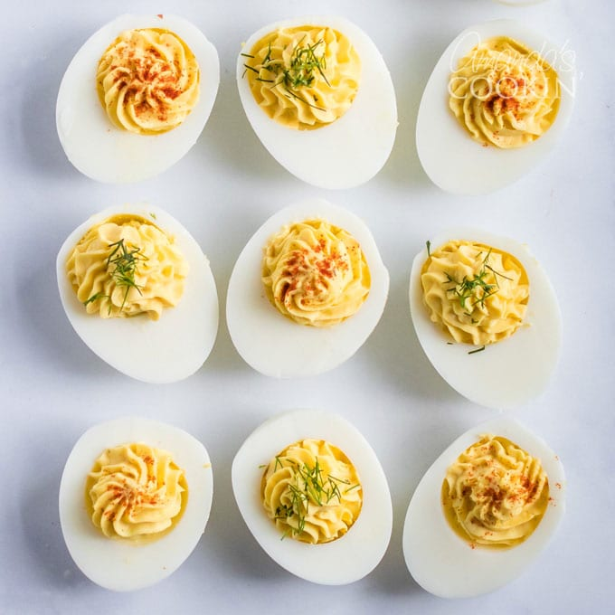 9 deviled eggs on counter