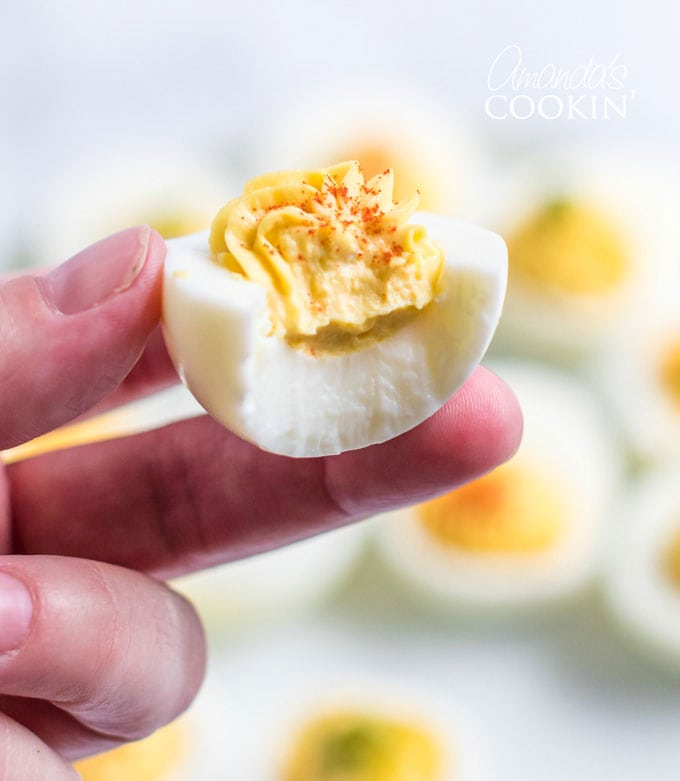 deviled egg with bite out of it
