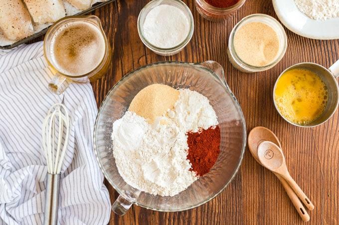 ingredients for beer battered fish