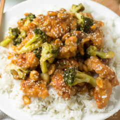 sesame chicken on plate