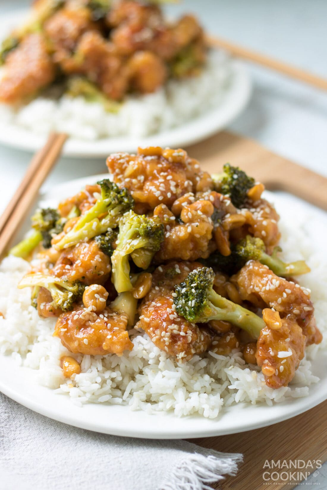 plate of sesame chicken