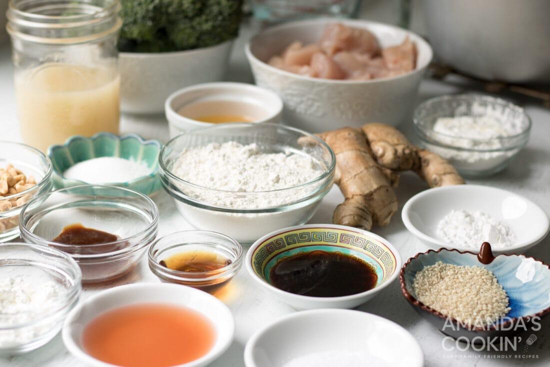 ingredients for making sesame chicken