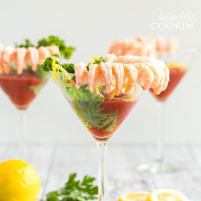 shrimp cocktail in martini glasses