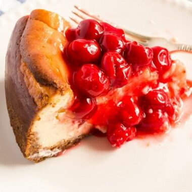 cherry cheesecake on a plate