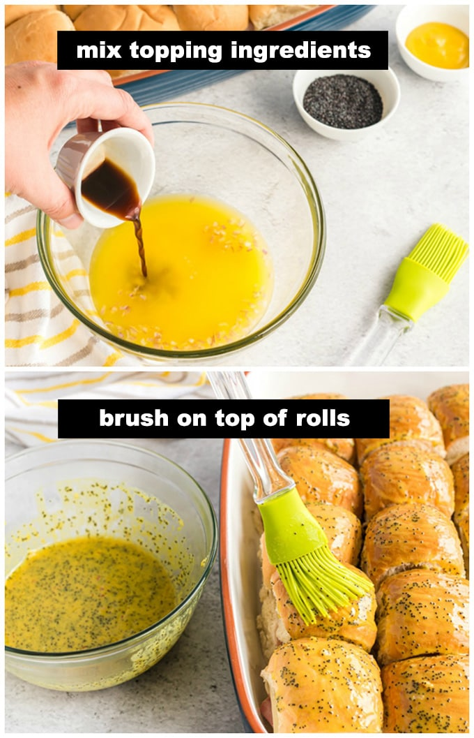 brushing the rolls with butter mixture