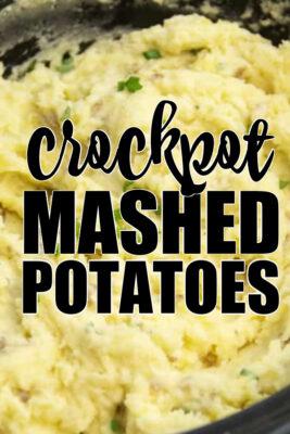 close up of crockpot mashed potatoes pin image