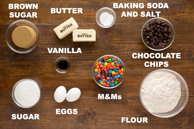 ingredients for chocolate chip m&m cookies