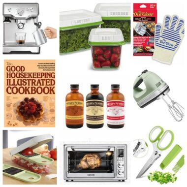 collaged photo of various foodie gift item ideas
