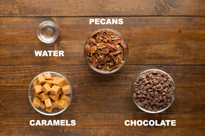 ingredients for chocolate turtle candies