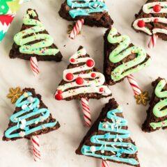 multiple christmas tree brownies
