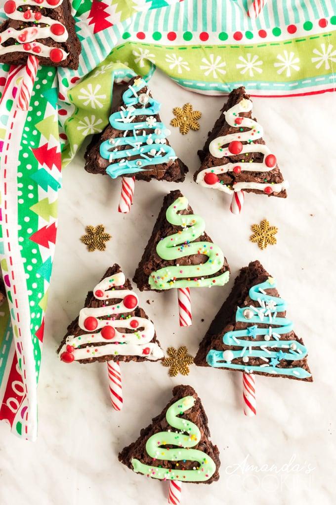 several tree shaped brownies