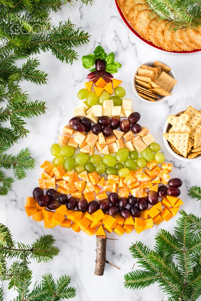 Christmas tree cheese platter with crackers