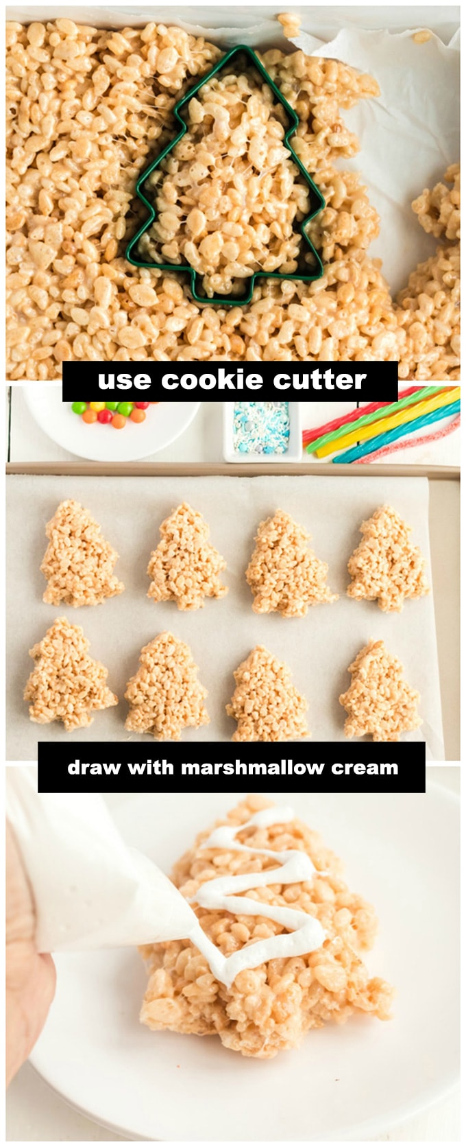 cutting out christmas tree shapes from rice krispie treats