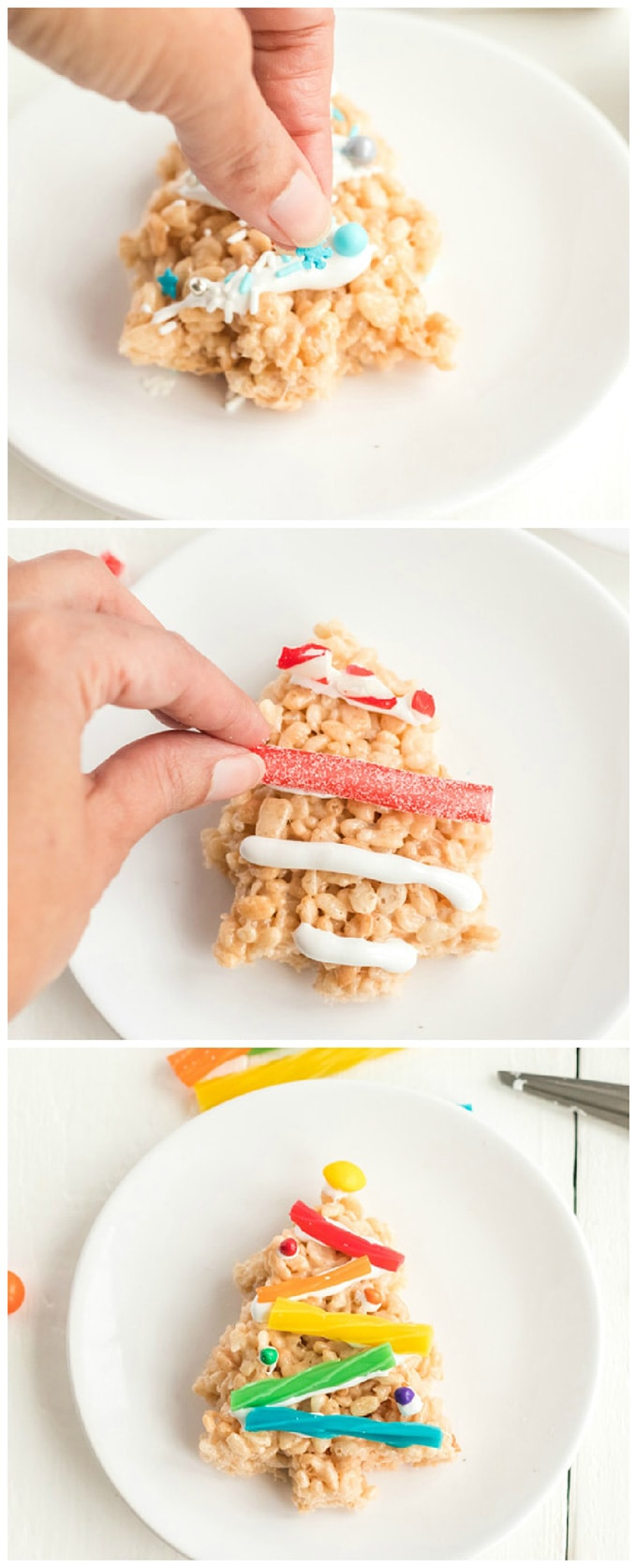adding candy decorations to Christmas Tree Rice Krispie Treats