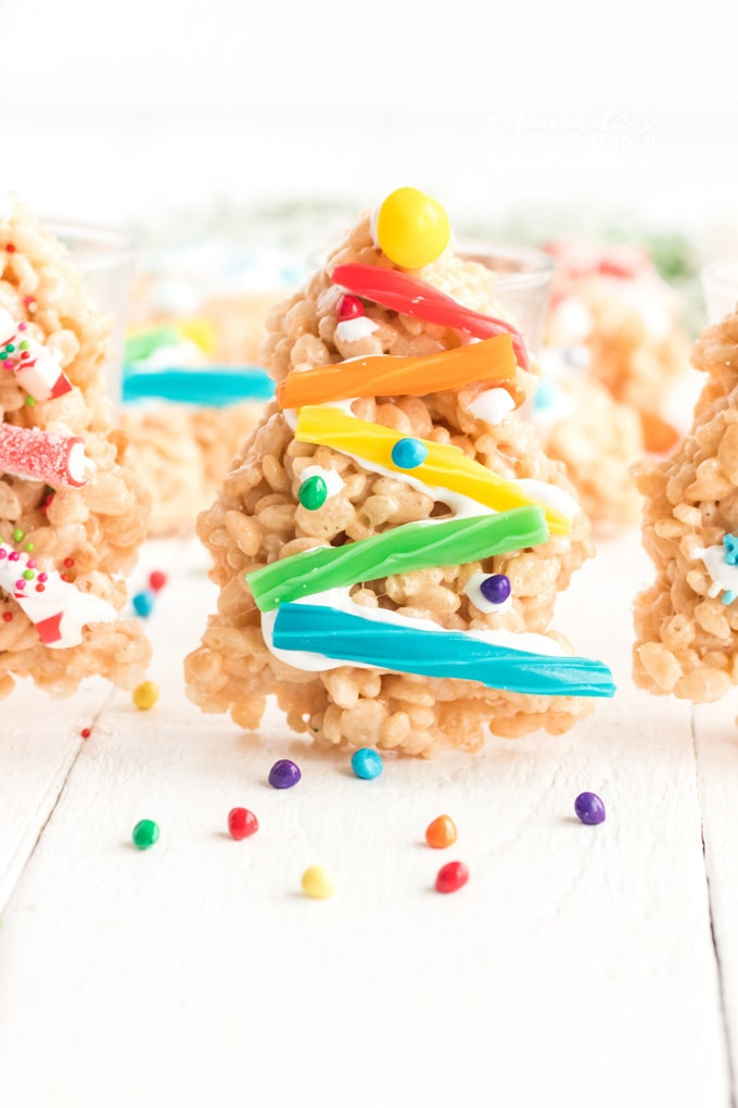 rice krispie treat christmas tree decorated with candies