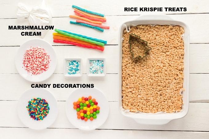 ingredients for Christmas Tree Rice Krispie Treats