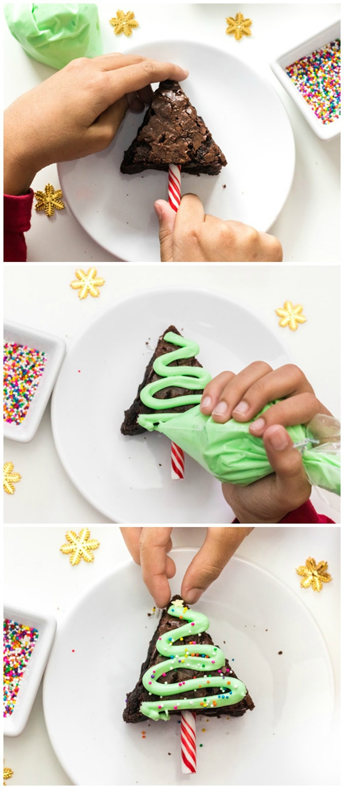 decorating a brownie