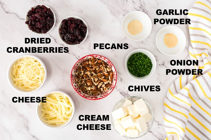 ingredients for cranberry cheese ball