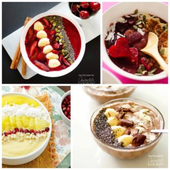 photos of different smoothie bowls