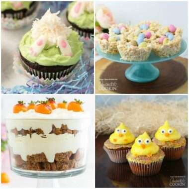 4 different easter desserts, bunny butt cupcakes, carrot cake trifle, chick cupcakes, and rice krispy nests
