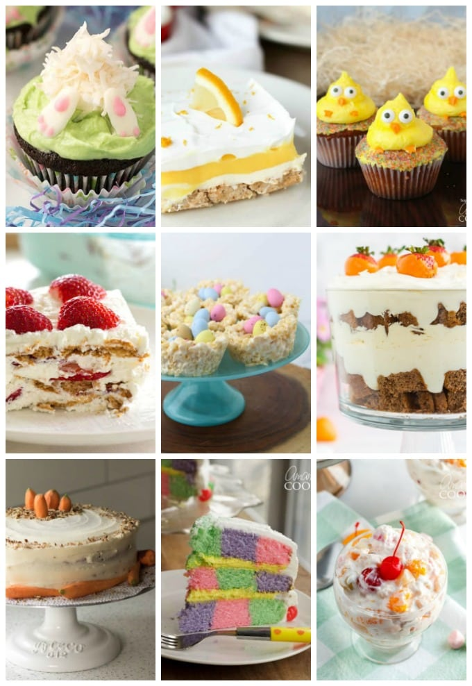 multiple easter desserts in a collage of photos