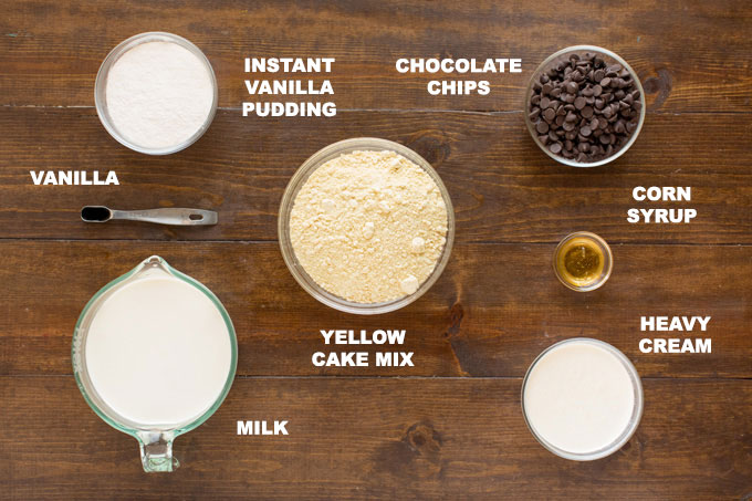 photo of labeled ingredients for boston cream poke cake: yellow cake mix, milk, pudding ,chocolate chips, corn syrup, heavy cream, vanilla