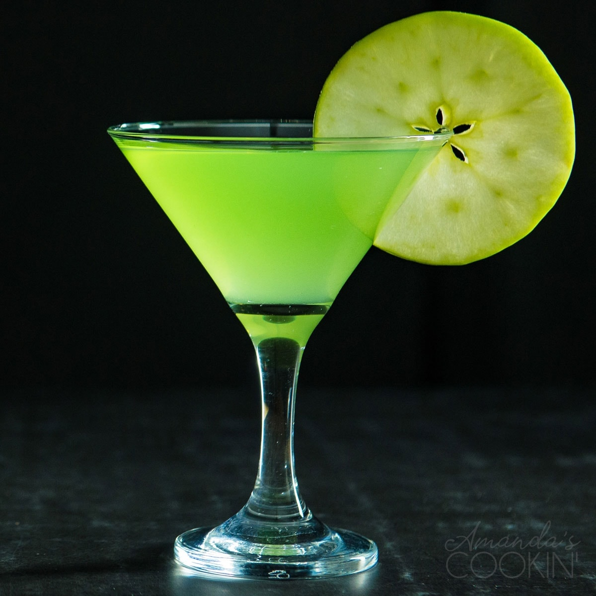 appletini on a dark background